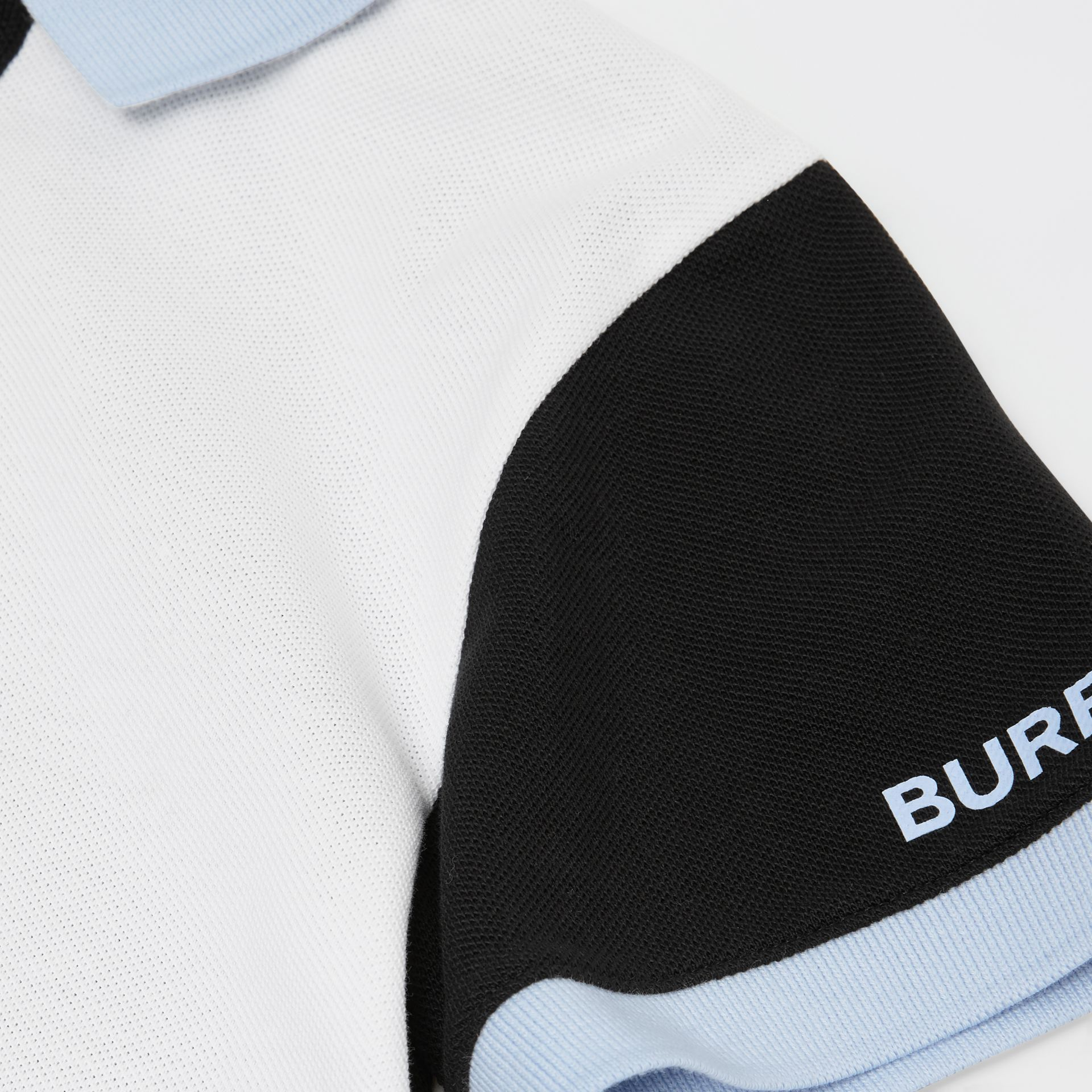 Colour Block Knit Cotton Polo Shirt in Grey Melange | Burberry - gallery image 1