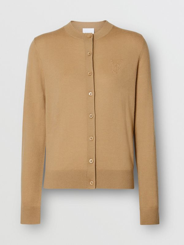Monogram Motif Cashmere Cardigan in Camel - Women | Burberry Canada - cell image 3