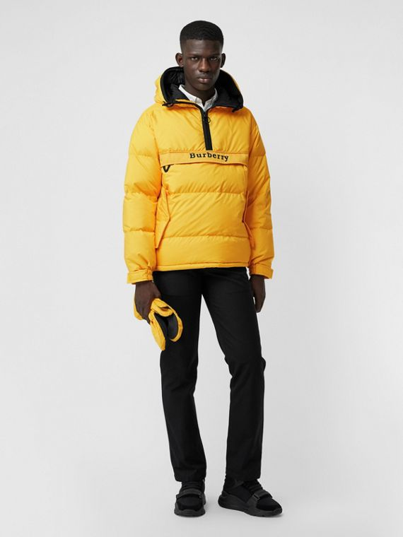 Down-filled Anorak with Detachable Mittens in Bright Yellow