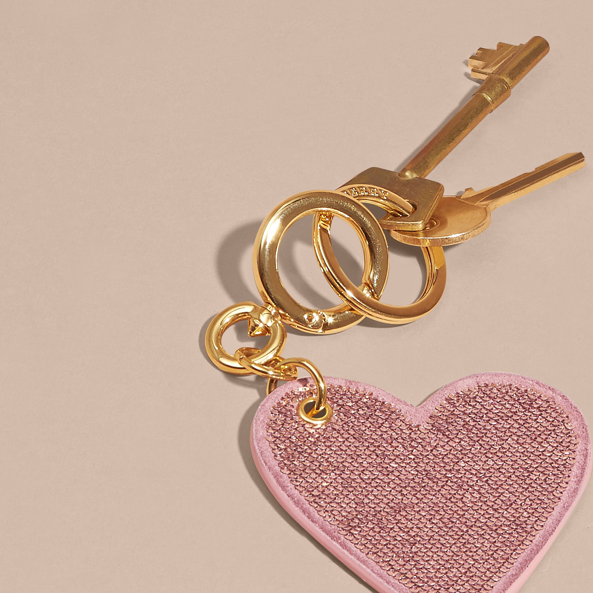 Pink / pink Sequinned Heart Suede Key Charm - gallery image 4