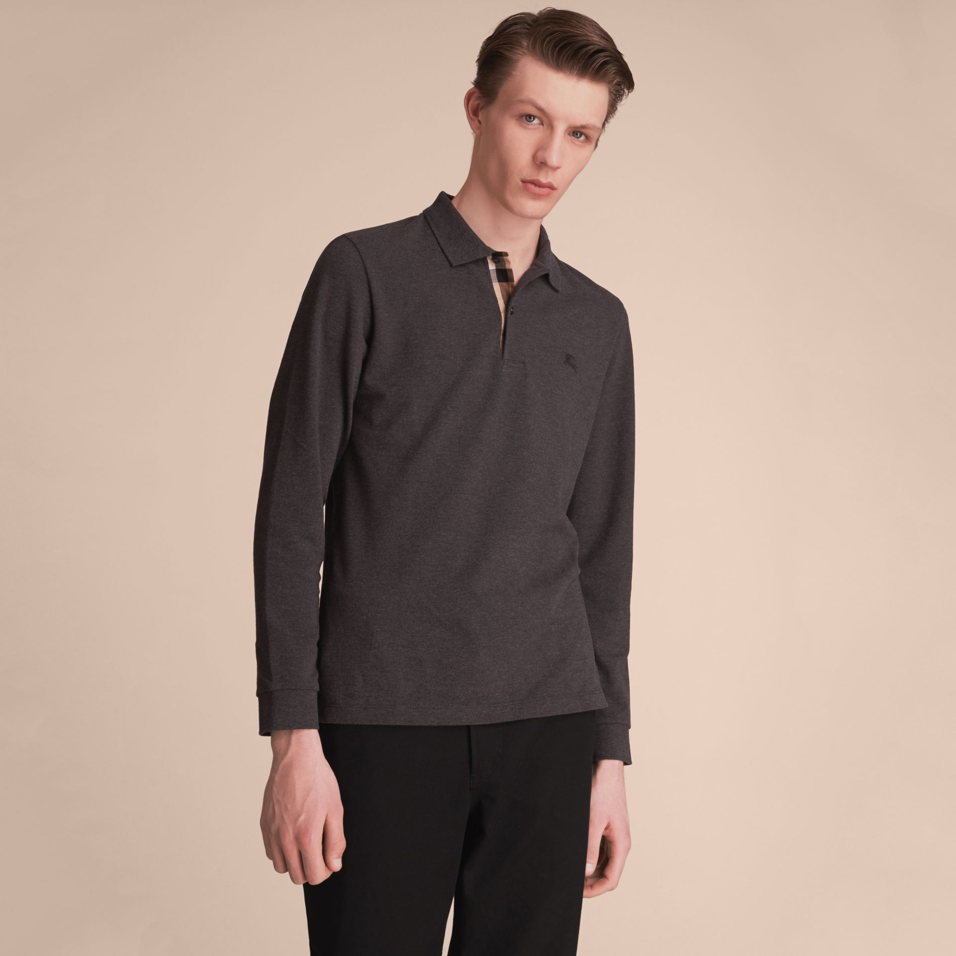 Check Placket Long Sleeve Polo Shirt in Dark Charcoal Melange - Men | Burberry - gallery image 6