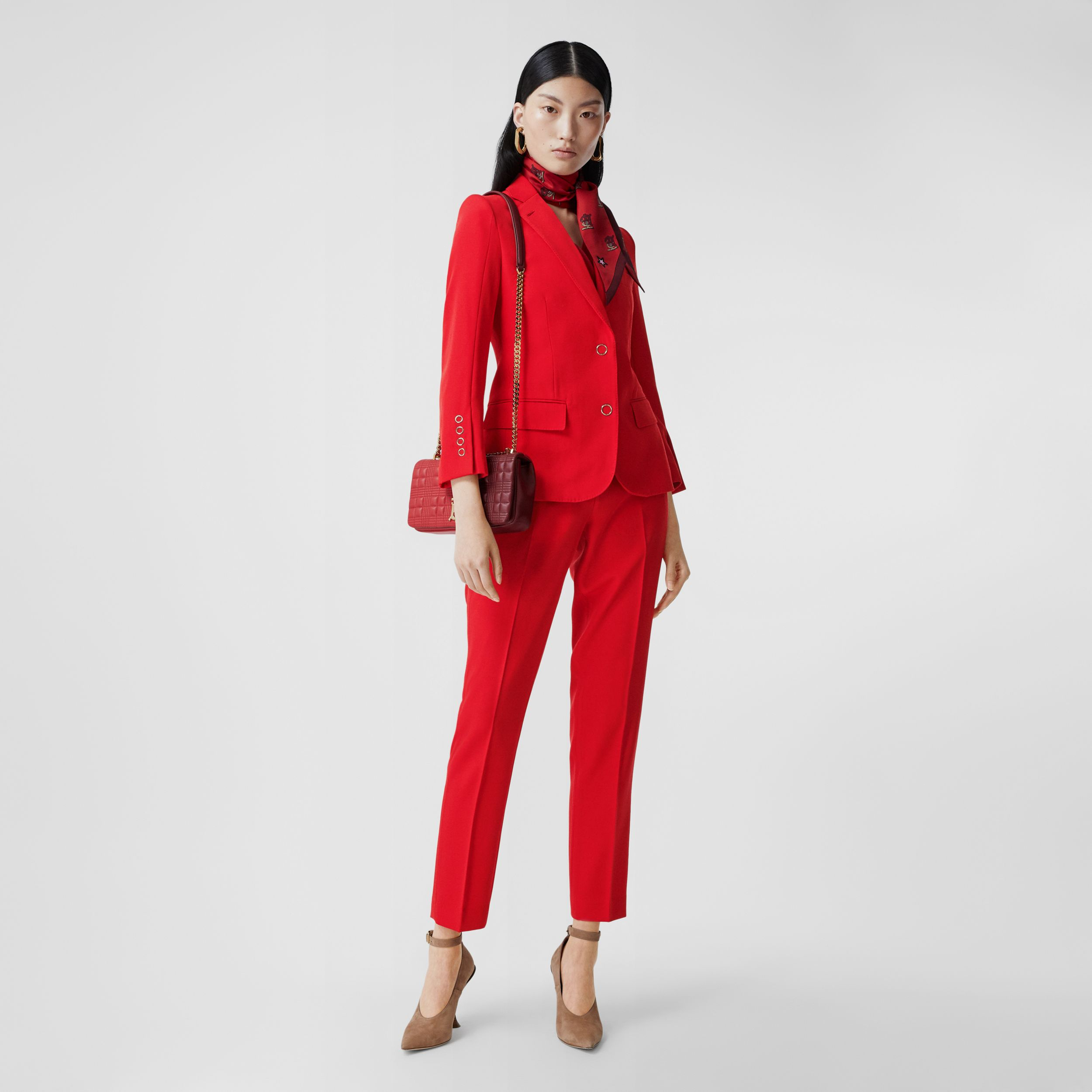 Wool Tailored Trousers in Bright Red - Women | Burberry - 1