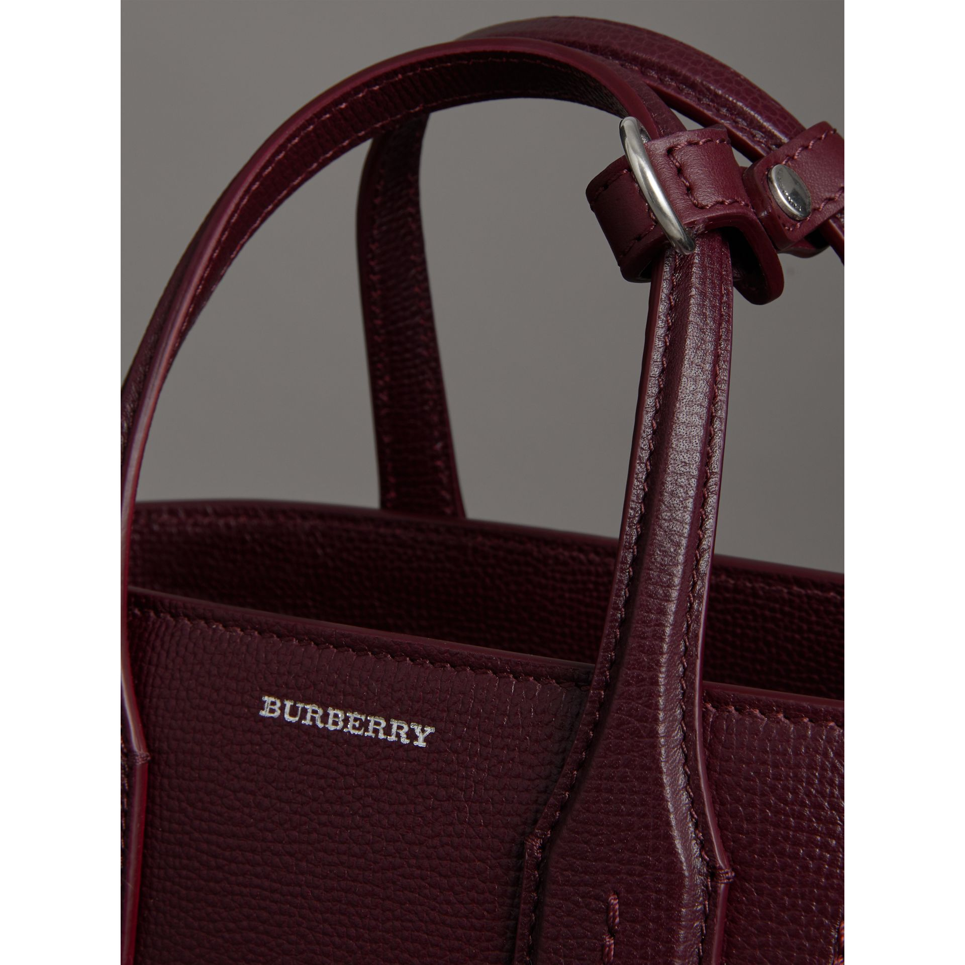 The Small Banner in Leather in Mahogany Red - Women | Burberry - gallery image 1
