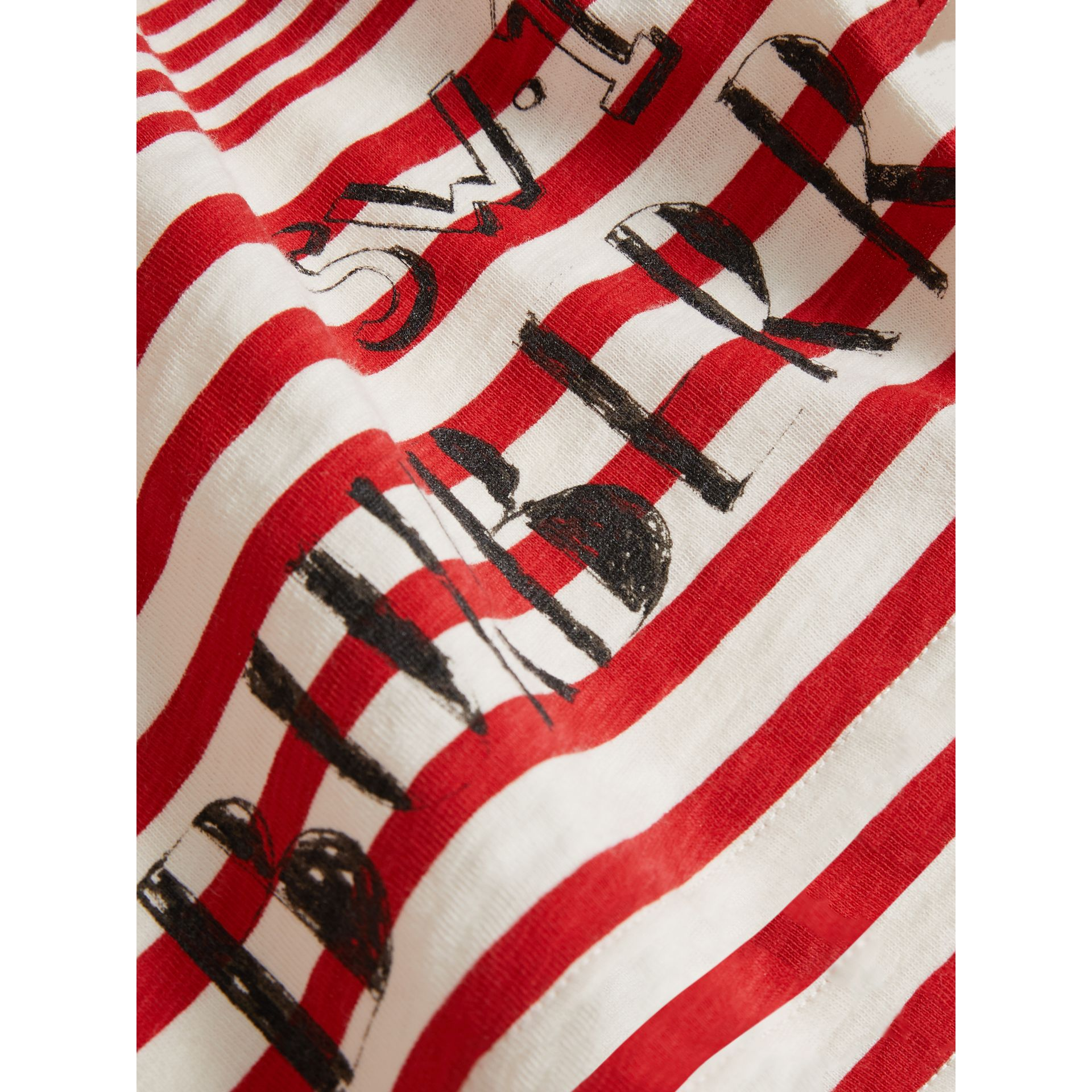 Long-sleeve SW1 Print Cotton Top in Bright Red/natural White - Children | Burberry - gallery image 1