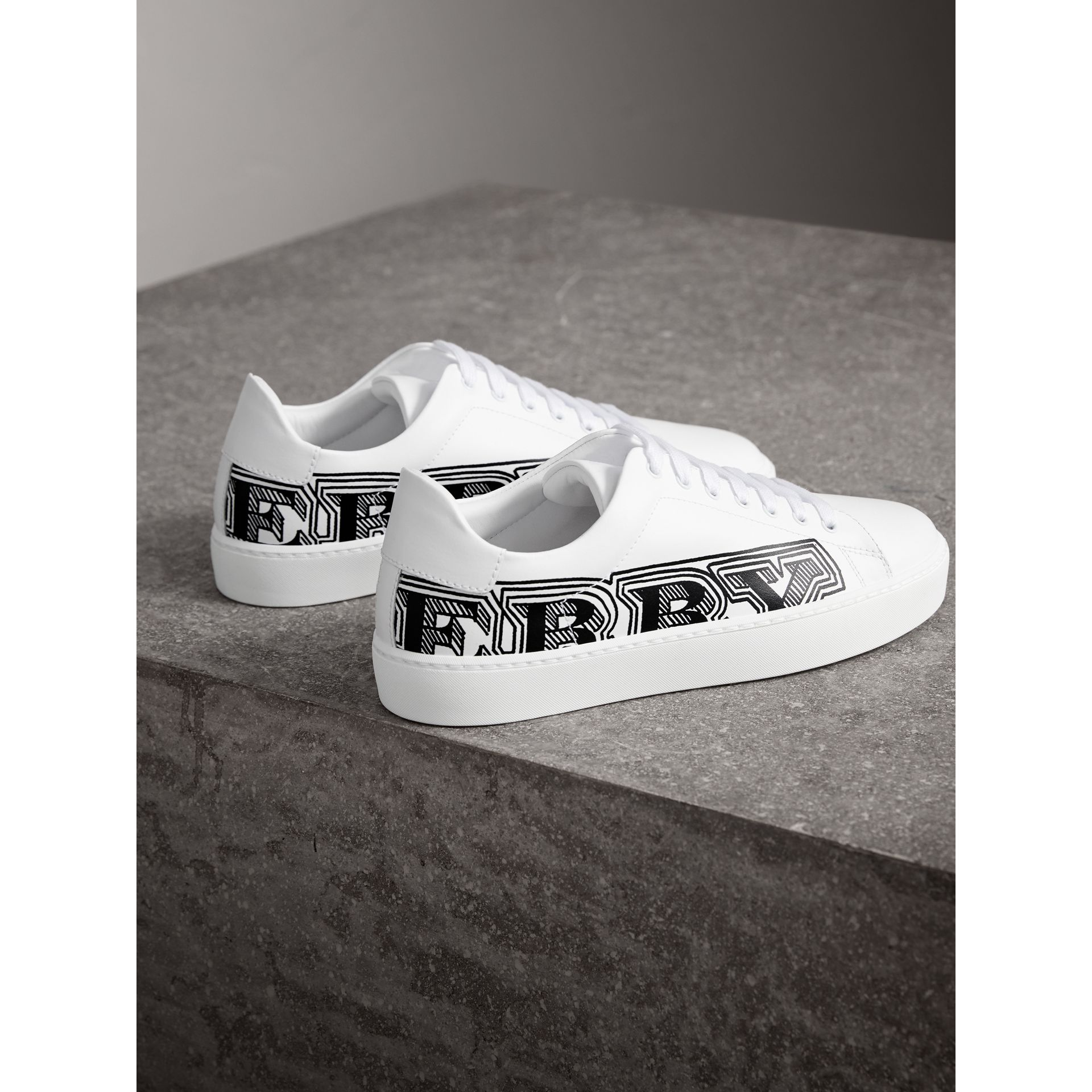 Doodle Print Leather Trainers in Optic White - Women | Burberry - gallery image 3