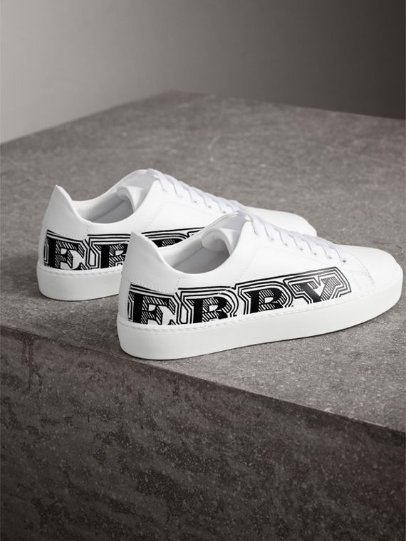Doodle Print Leather Trainers in Optic White - Women | Burberry - cell image 3