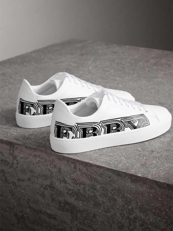 Doodle Print Leather Sneakers in Optic White - Women | Burberry - cell image 3