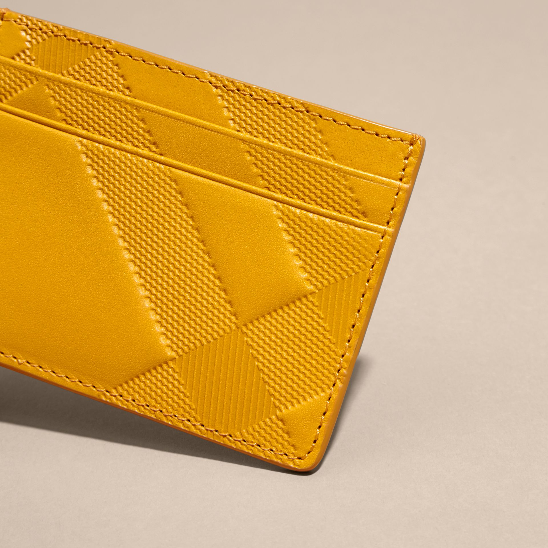 Amber yellow Check Embossed Leather Card Case Amber Yellow - gallery image 2