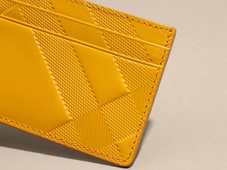 Amber yellow Check Embossed Leather Card Case Amber Yellow - cell image 1