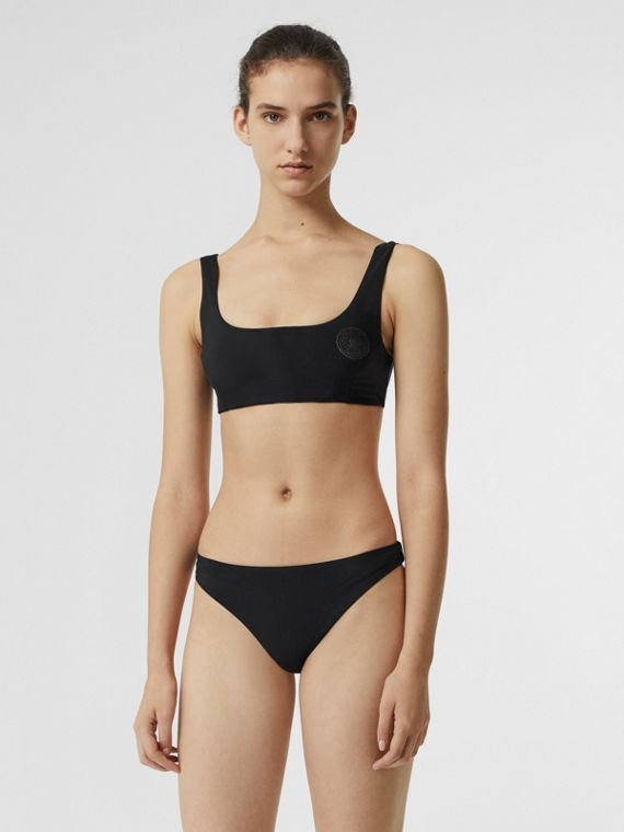 Bikini con emblema (Negro)