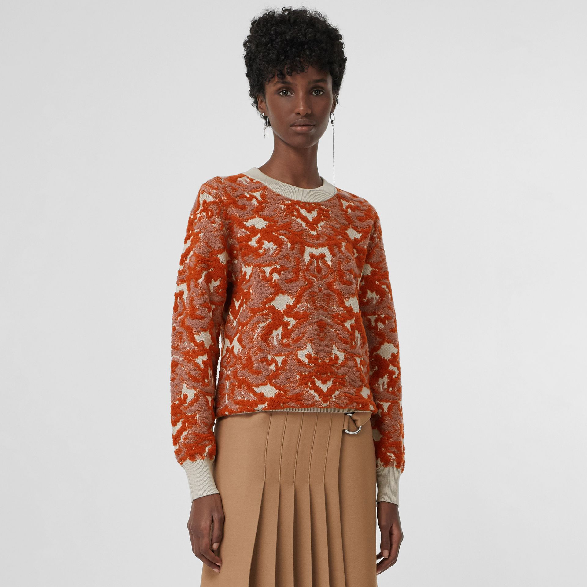 Pull en jacquard de laine et soie damassé (Azalée Rose) - Femme | Burberry Canada - photo de la galerie 4