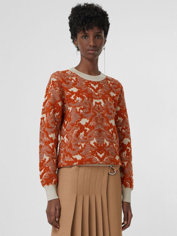 Damask Wool Silk Jacquard Sweater in Pink Azalea