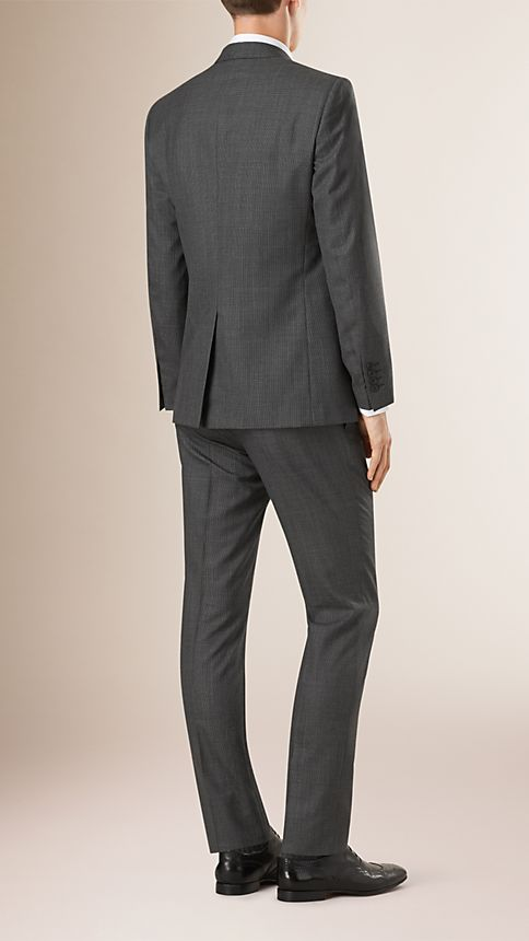 Mid grey melange Modern Fit Wool Cashmere Microcheck Part-canvas Suit - Image 2