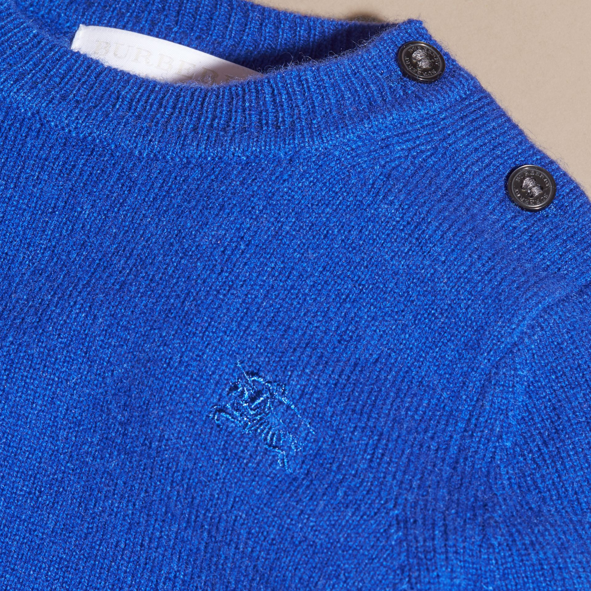 Brilliant blue Check Detail Cashmere Sweater Brilliant Blue - gallery image 2
