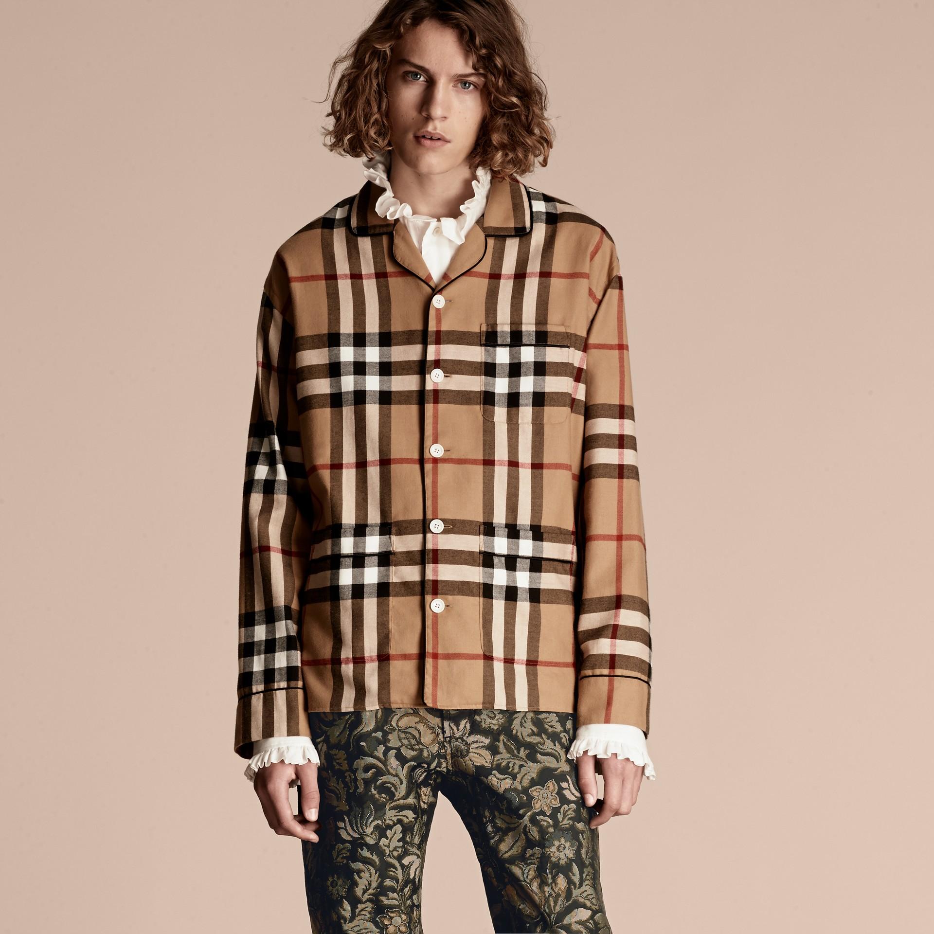 Check Cotton Flannel Pyjama-style Shirt - gallery image 1