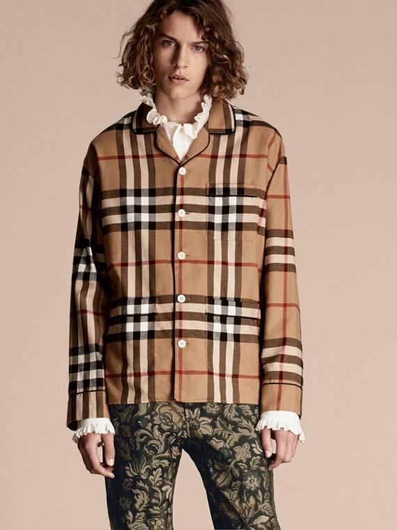 Camisa estilo pijama en franela de algodón a cuadros