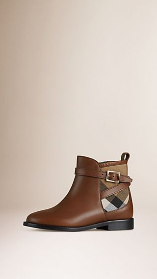 House Check Panel Leather Ankle Boots
