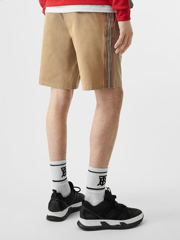 Icon Stripe Detail Cotton Twill Chino Shorts in Honey - Men | Burberry - cell image 2