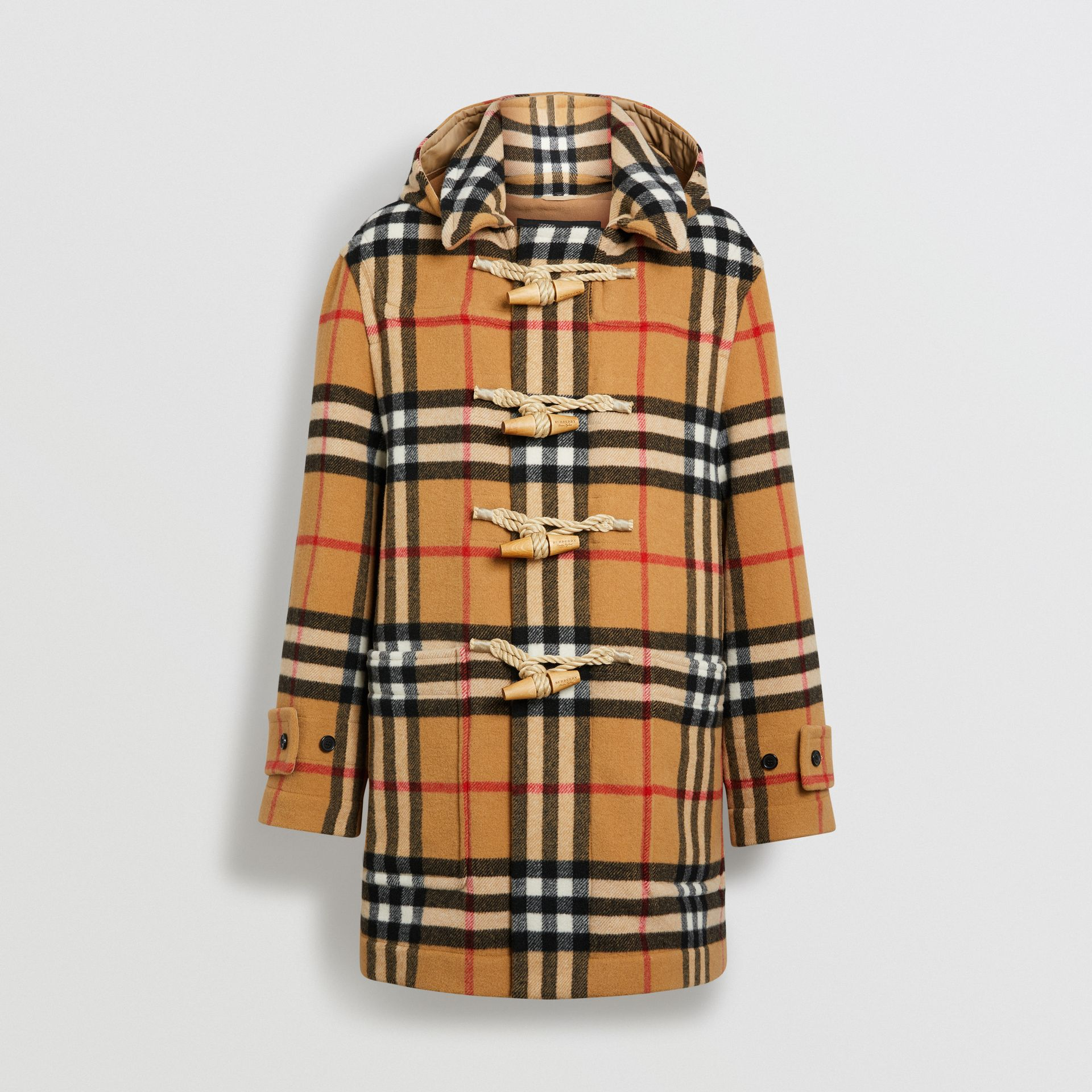 Gosha x Burberry Check Oversized Duffle Coat in Antique Yellow | Burberry - gallery image 3