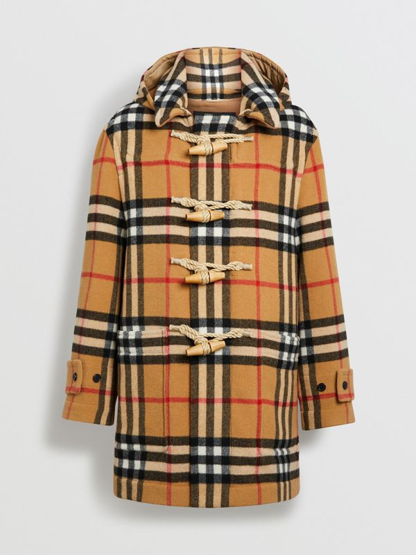 Gosha x Burberry Check Oversized Duffle Coat in Antique Yellow | Burberry Hong Kong - cell image 3