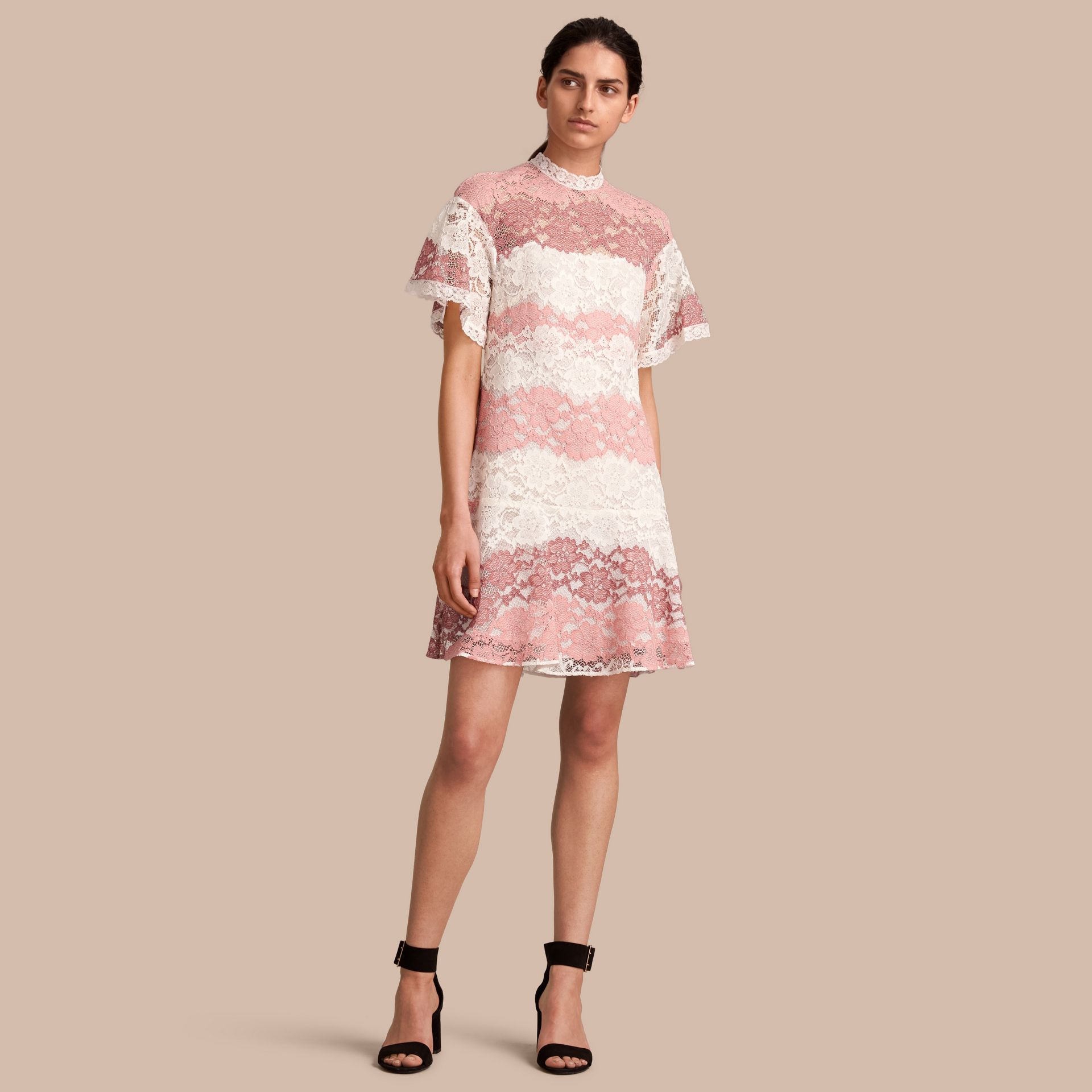Floral Lace Dress with Flutter Sleeves in Dusty Pink - Women | Burberry - gallery image 1
