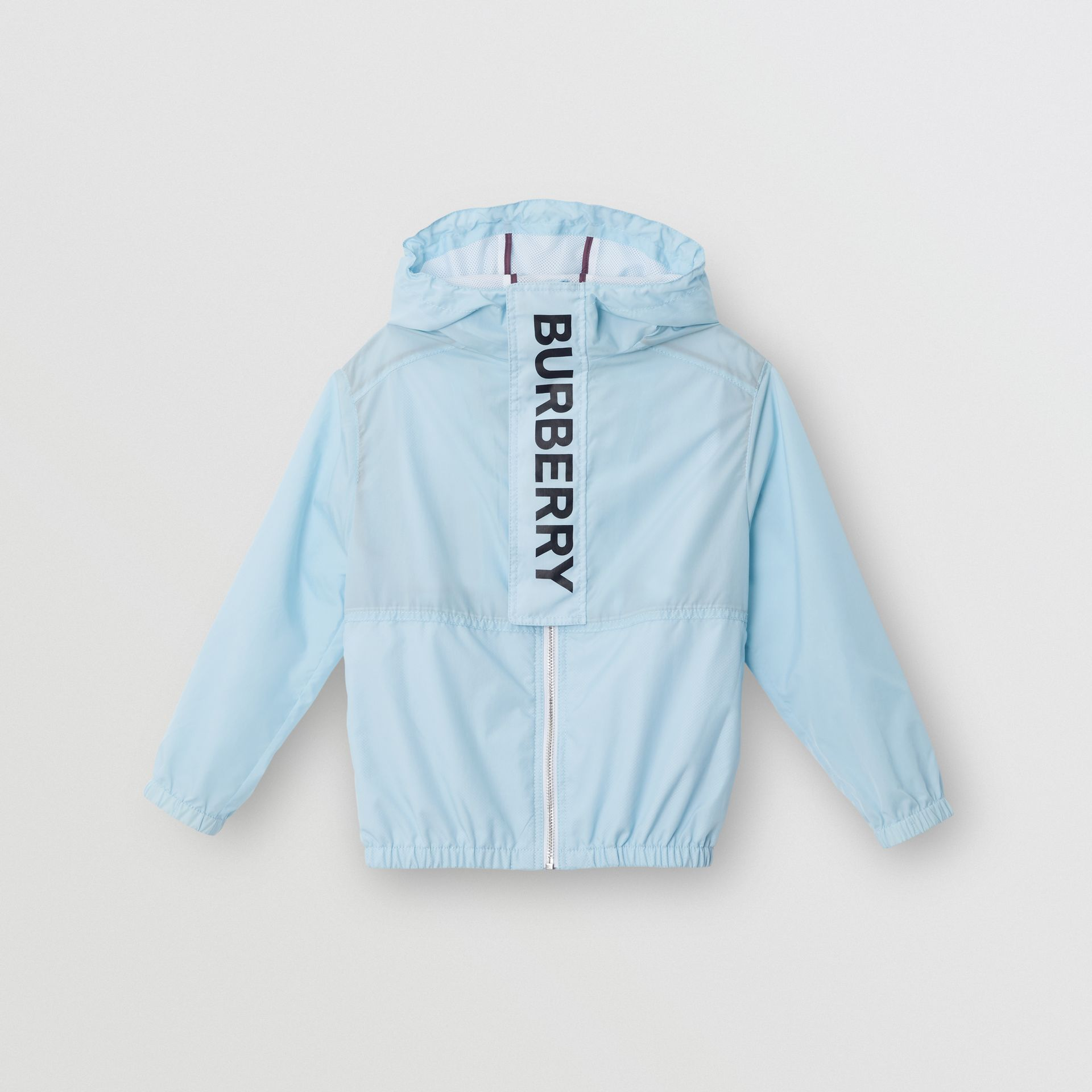 Logo Print Lightweight Hooded Jacket in Light Blue | Burberry - gallery image 0