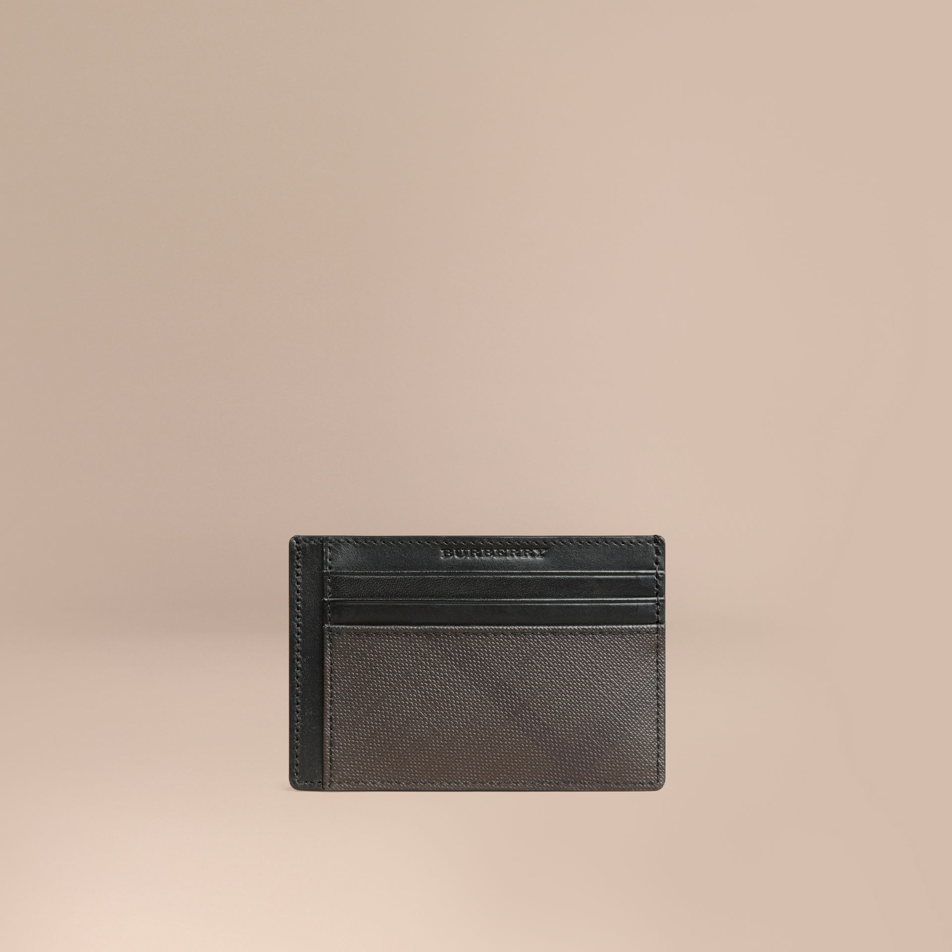 London Check Card Case in Chocolate/black - Men | Burberry Canada - gallery image 1