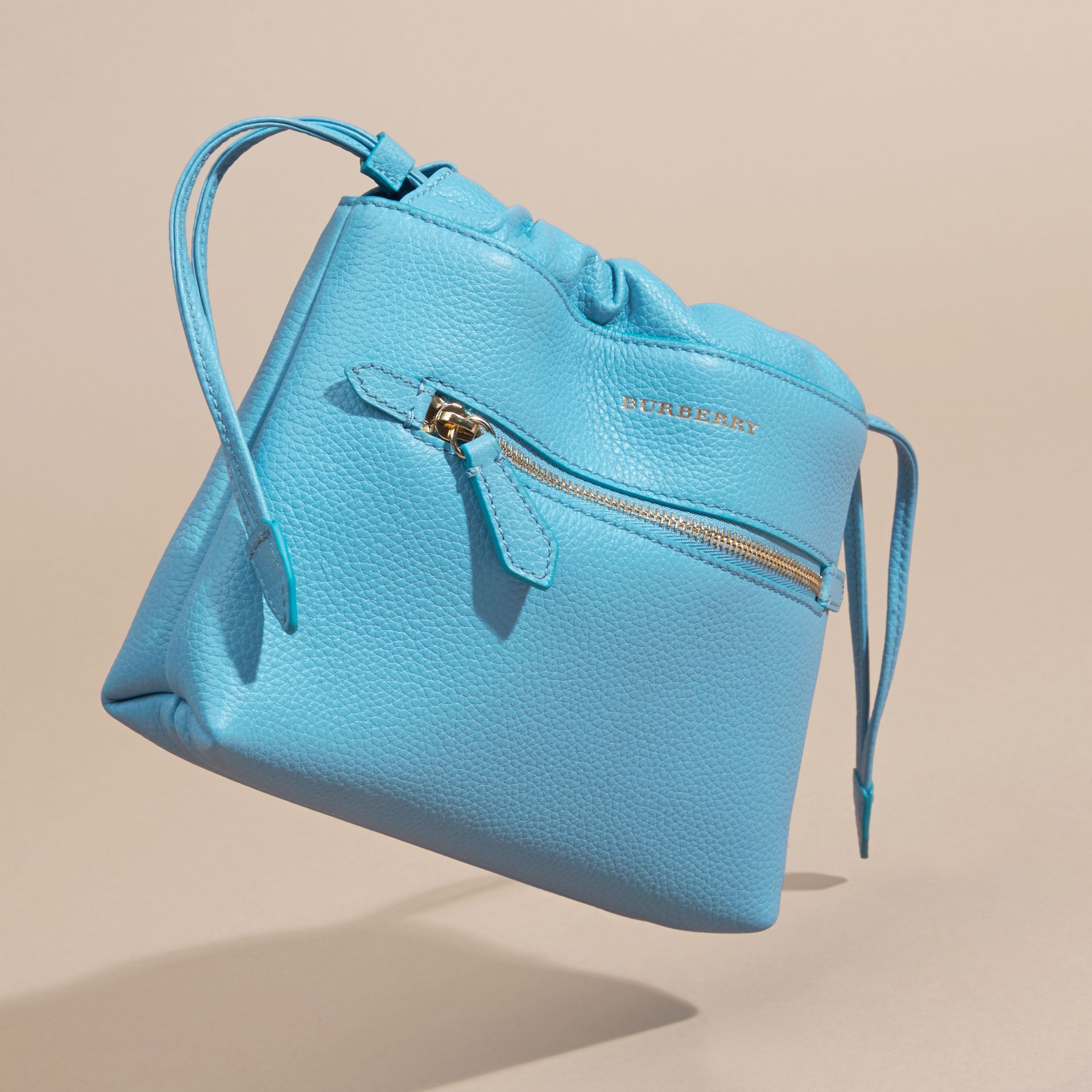 Bright mineral blue The Mini Crush in Grainy Leather Bright Mineral Blue - gallery image 3