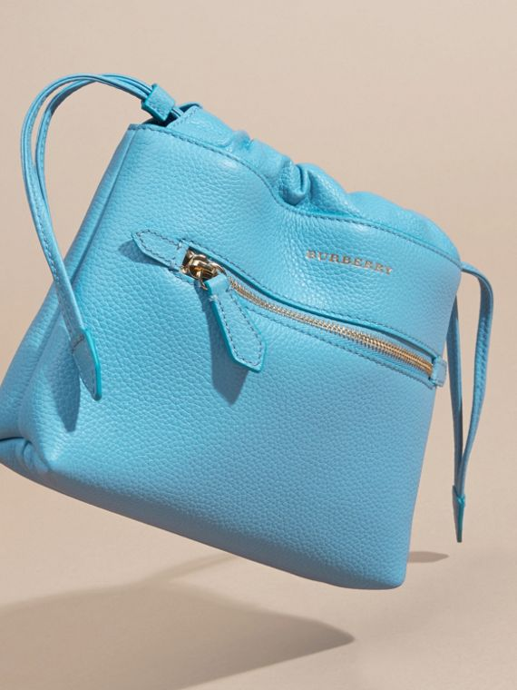 Bright mineral blue The Mini Crush in Grainy Leather Bright Mineral Blue - cell image 2