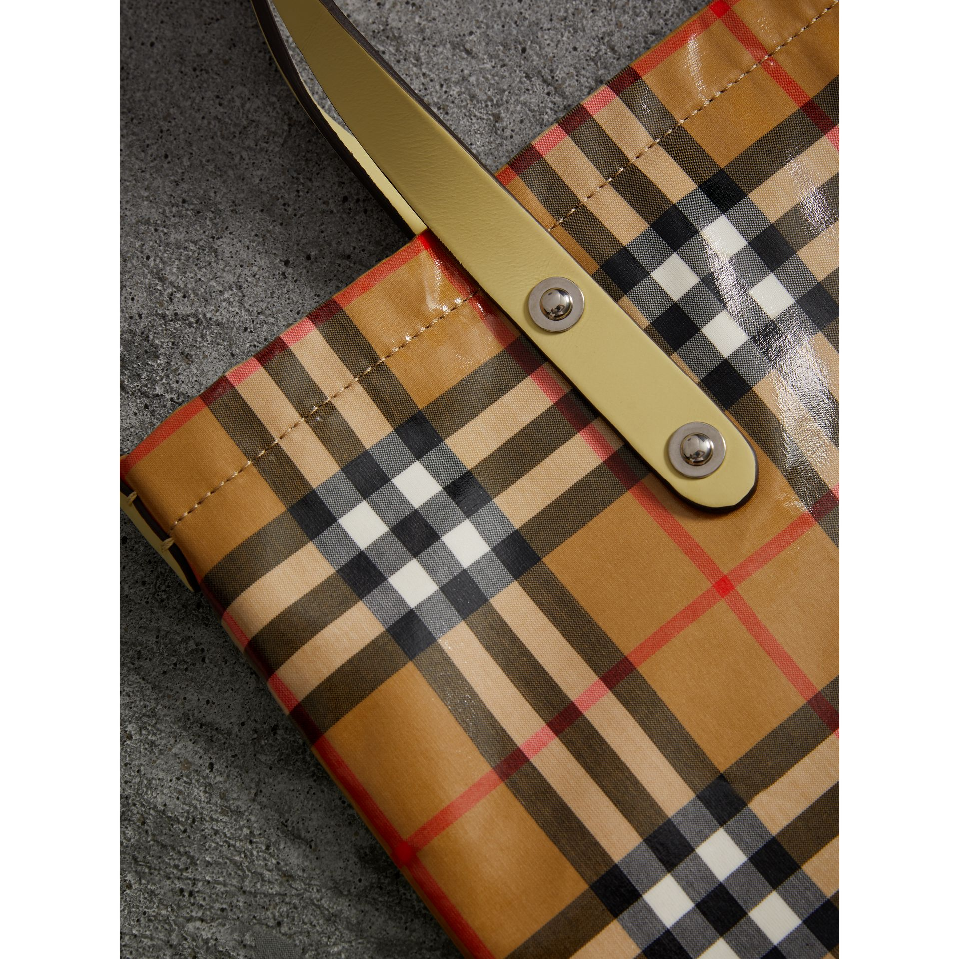 Medium Coated Vintage Check Shopper in Pale Yellow | Burberry - gallery image 1