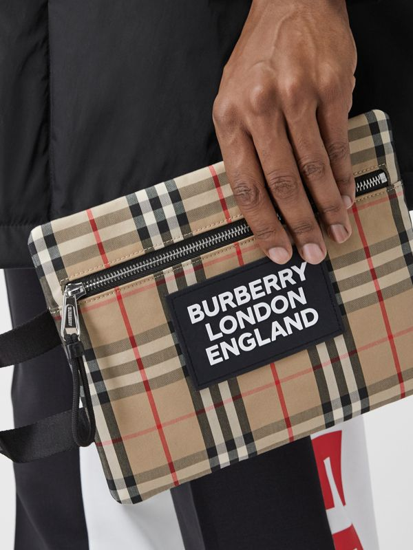 Logo Detail Vintage Check Portrait Pouch in Archive Beige | Burberry - cell image 3