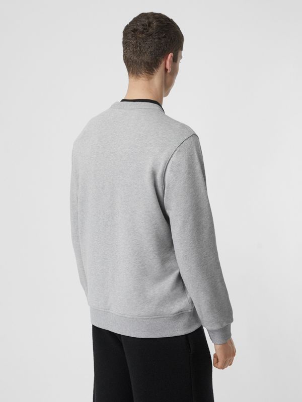 Horseferry Print Cotton Sweatshirt in Pale Grey Melange - Men | Burberry Australia - cell image 2
