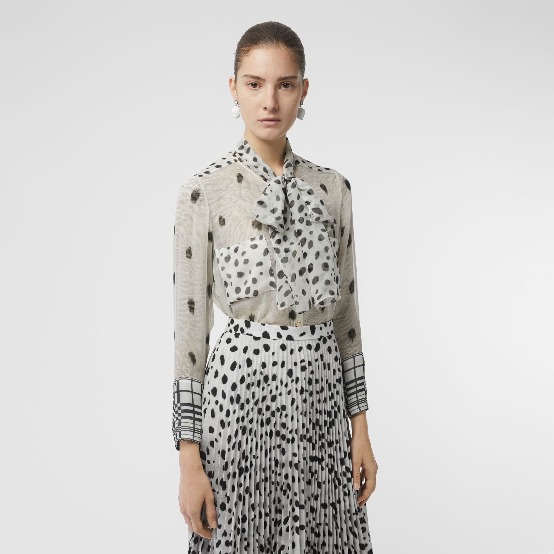 Dalmatian Print Silk Pussy-bow Blouse in Black/white - Women | Burberry - gallery image 0