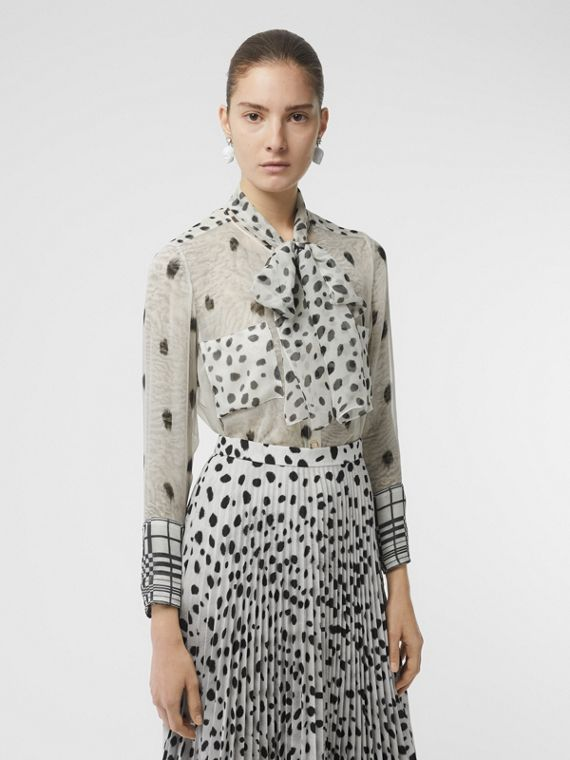 Dalmatian Print Silk Pussy-bow Blouse in Black/white