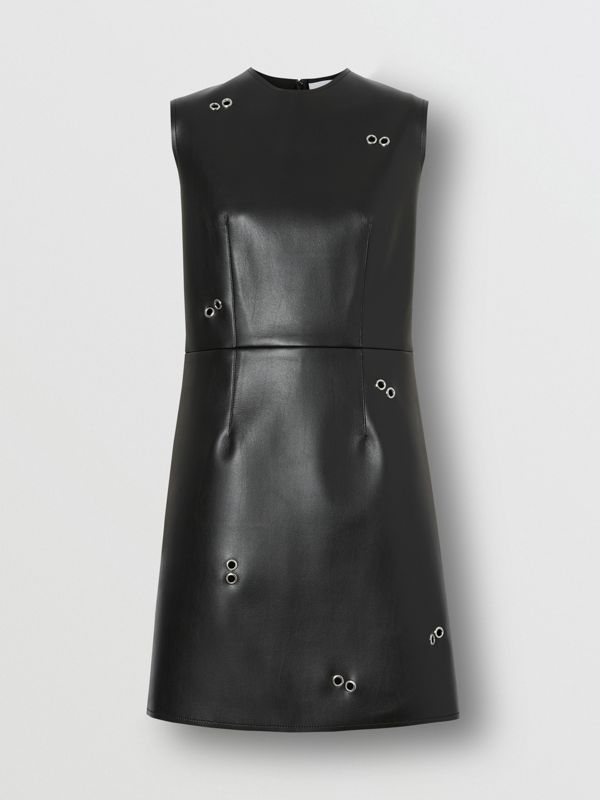 Embellished Faux Leather Mini Dress in Black - Women | Burberry - cell image 3