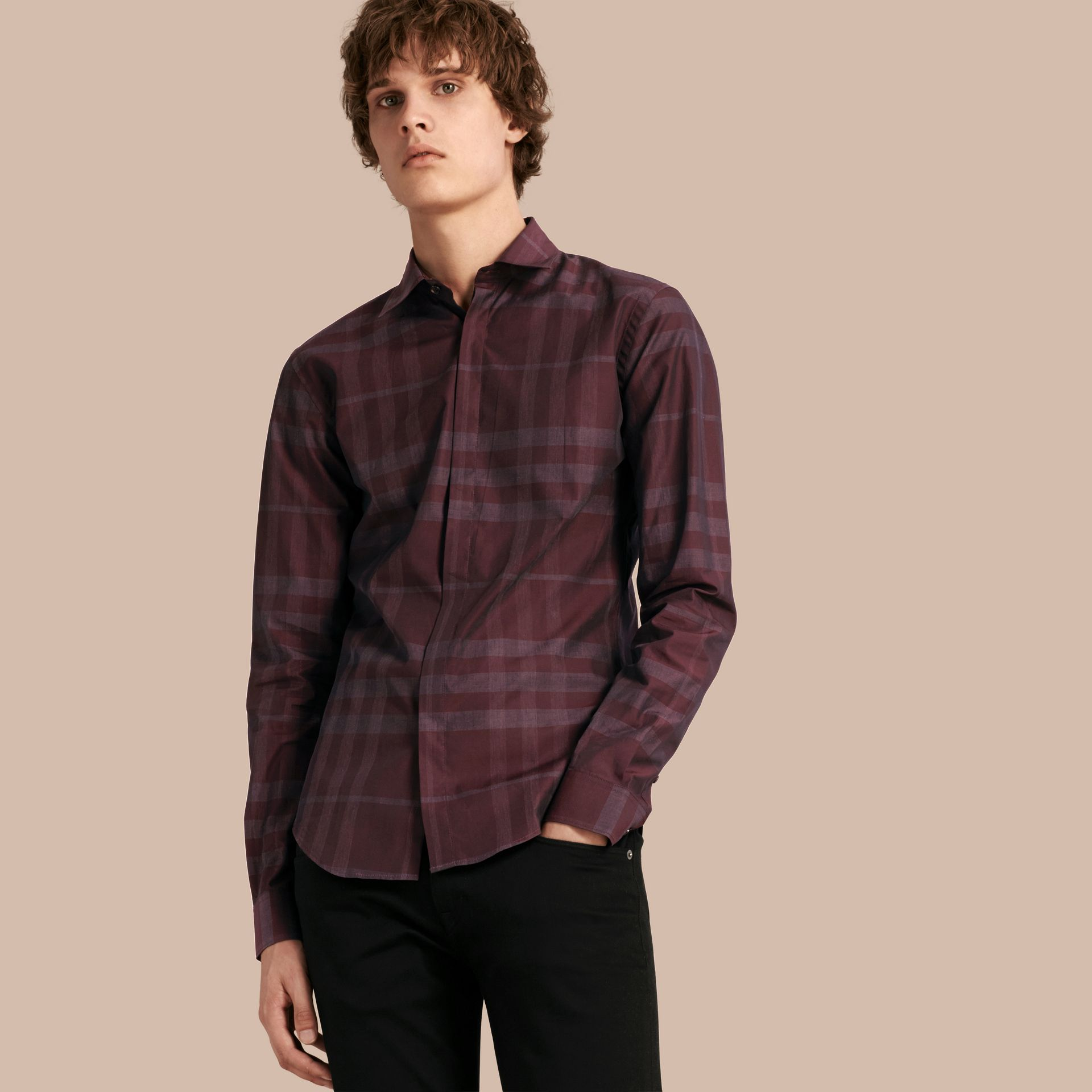 Deep burgundy Check Cotton Shirt Deep Burgundy - gallery image 1