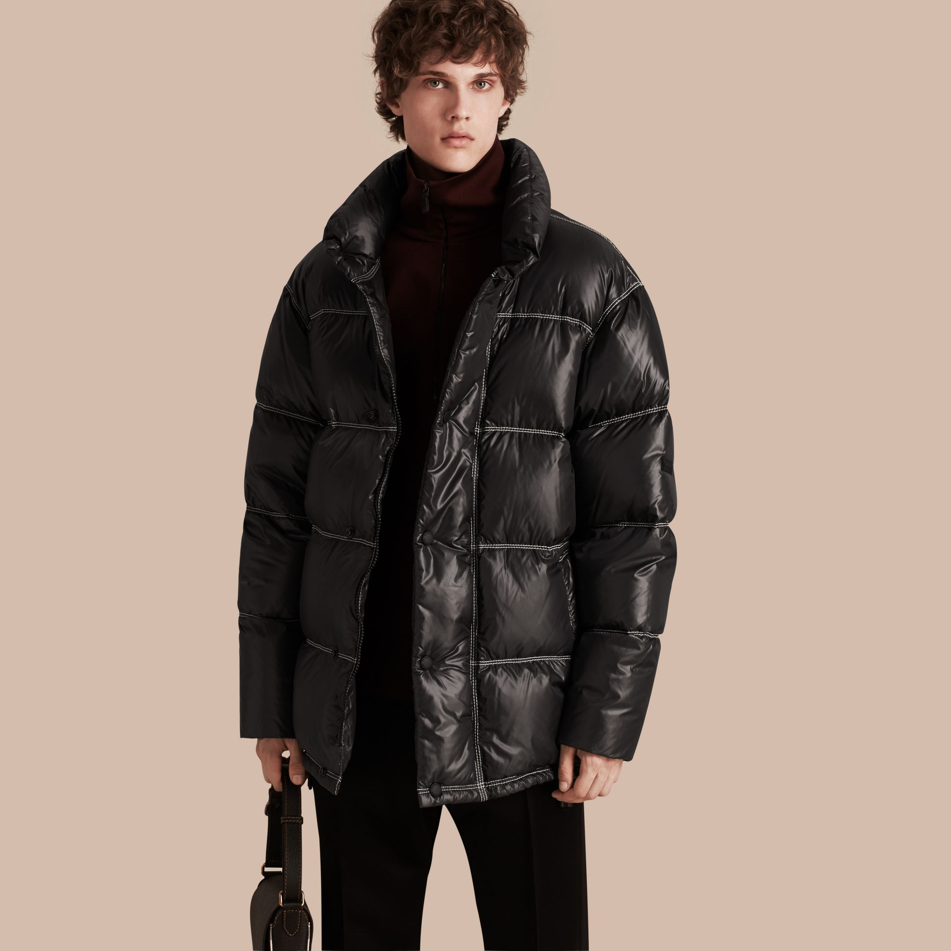 Black Down-filled Puffer Coat - gallery image 1