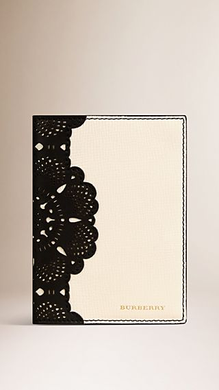 Laser-cut Lace Leather Passport Holder