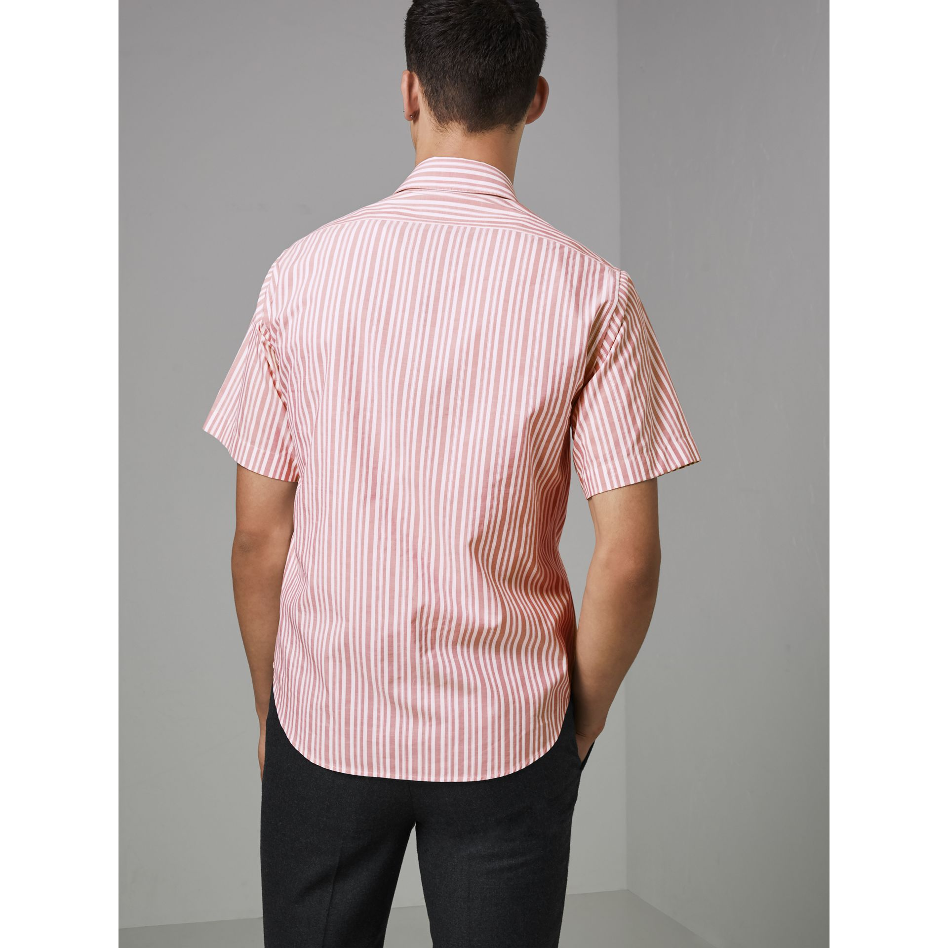 Embroidered Archive Logo Striped Short-sleeve Shirt in Light Pink - Men | Burberry - gallery image 2
