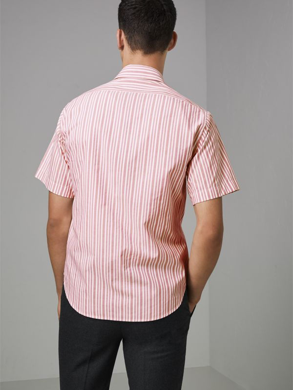 Embroidered Archive Logo Striped Short-sleeve Shirt in Light Pink - Men | Burberry Australia - cell image 2