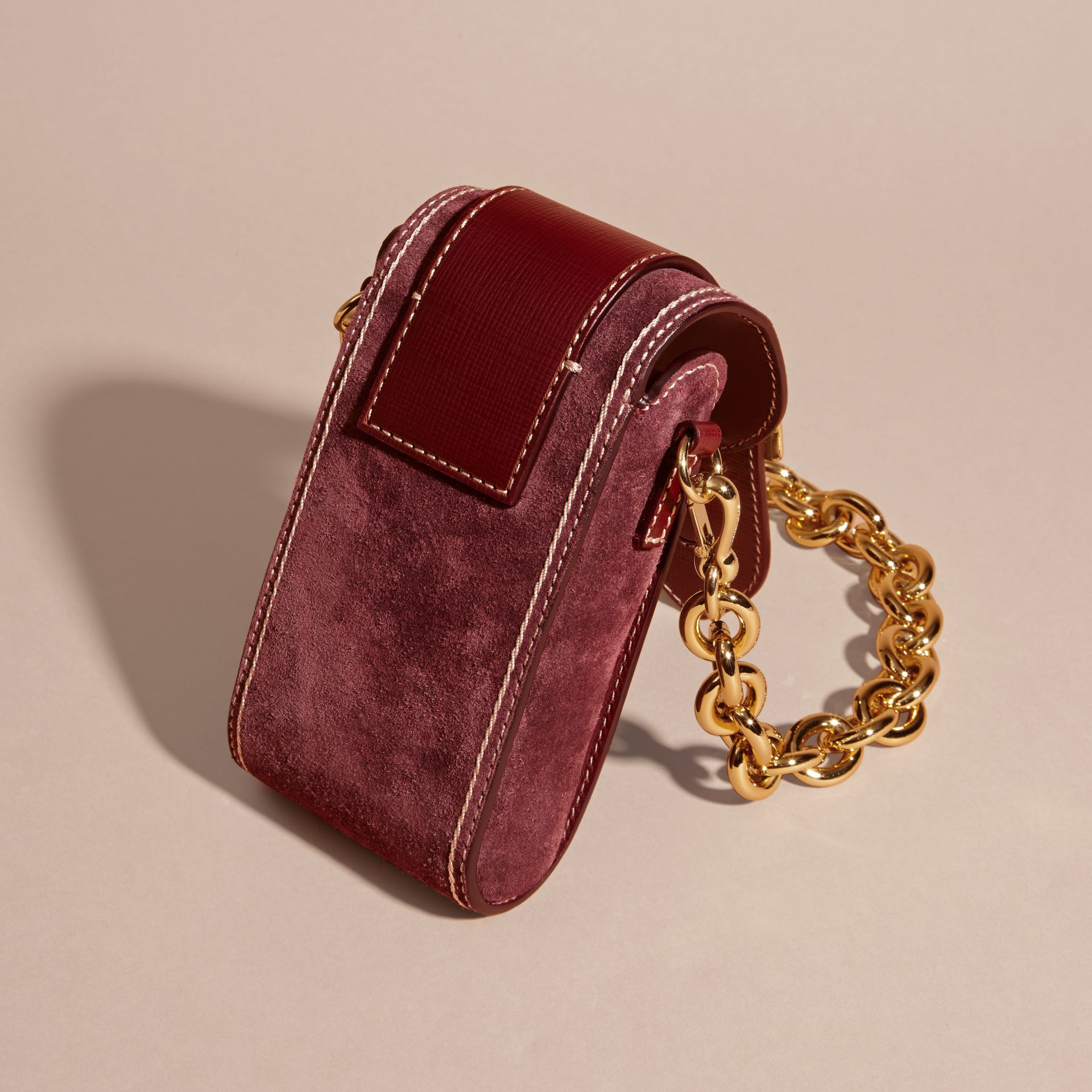 Mahogany red The Buckle Bag – Oblong in Suede - gallery image 4