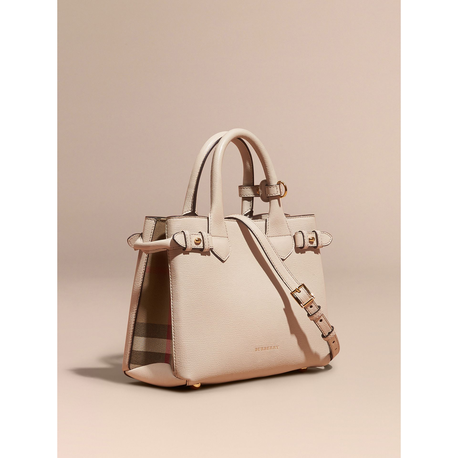 The Small Banner in Leather and House Check in Limestone - Women | Burberry United Kingdom - gallery image 0