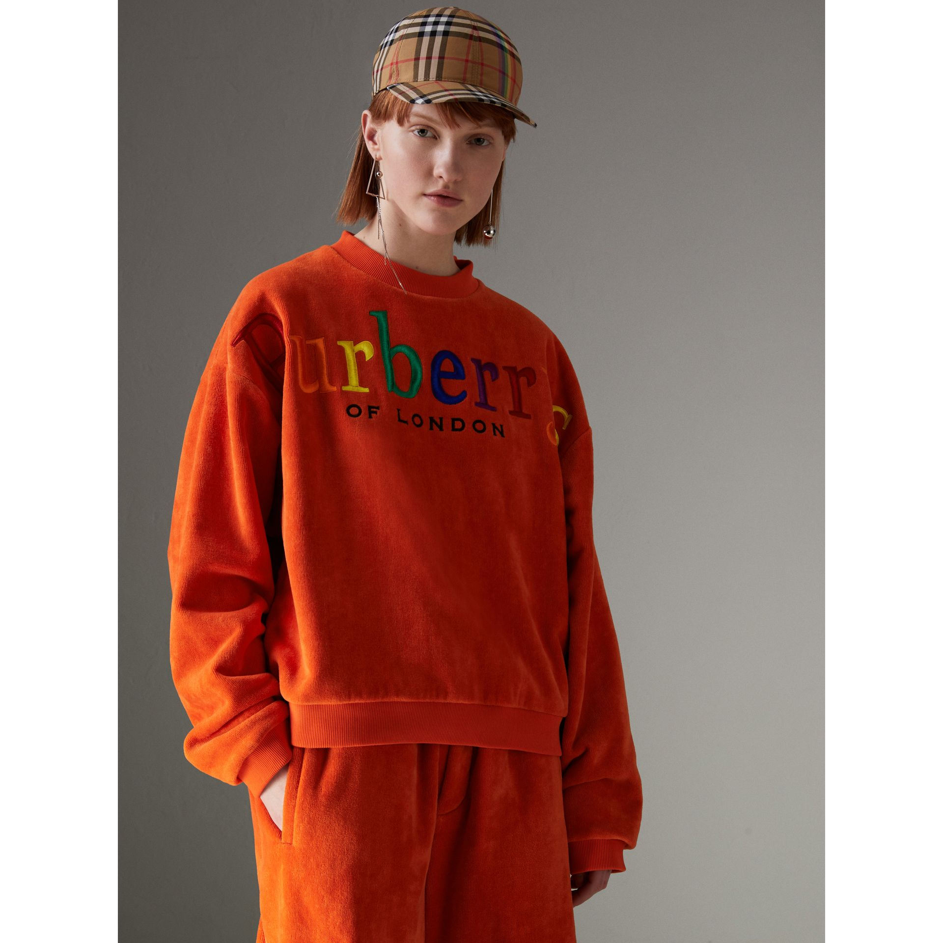 Archive Logo Towelling Sweatshirt in Tangerine - Women | Burberry United Kingdom - gallery image 4