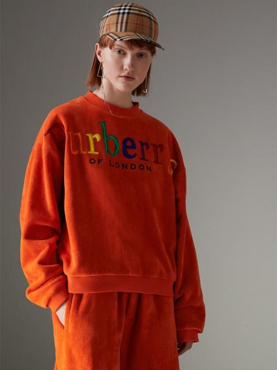 Sweatshirt aus Nicki mit Vintage-Logo (Orangerot)