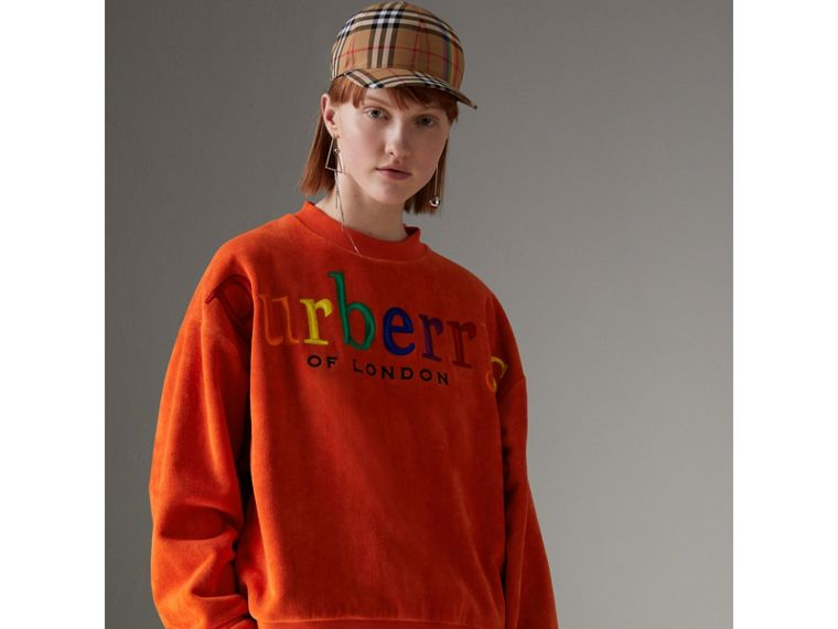 Archive Logo Towelling Sweatshirt in Tangerine - Women | Burberry United Kingdom - cell image 4