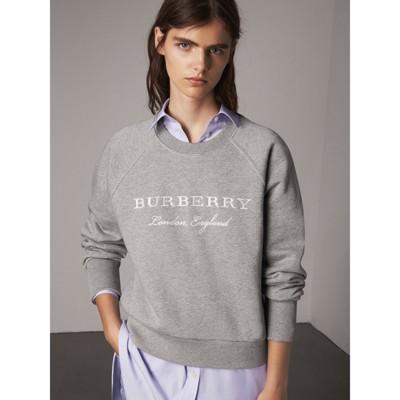Embroidered Cotton Blend Jersey Sweatshirt in Grey