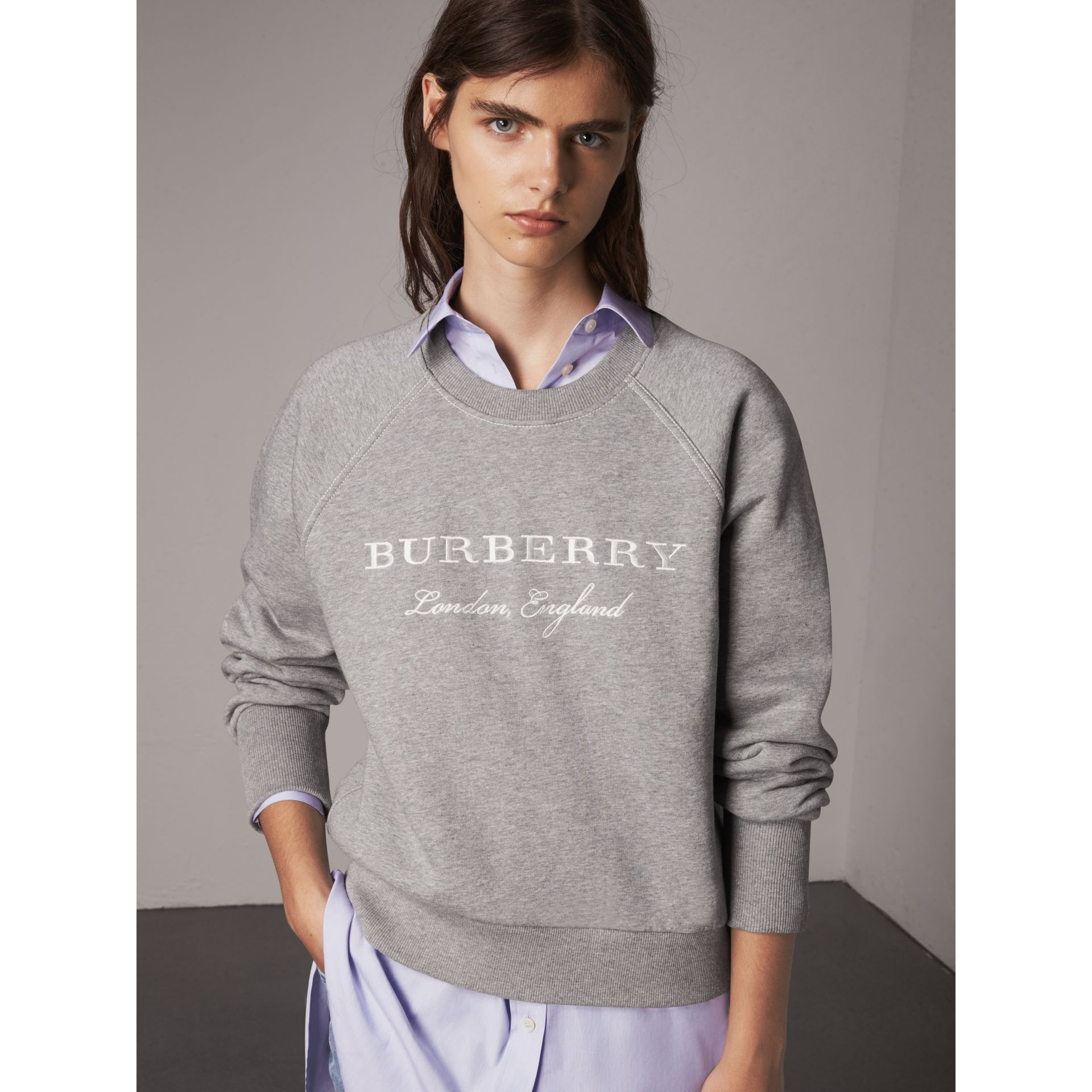 Embroidered Cotton Blend Jersey Sweatshirt in Pale Grey Melange - Women | Burberry Australia - gallery image 1