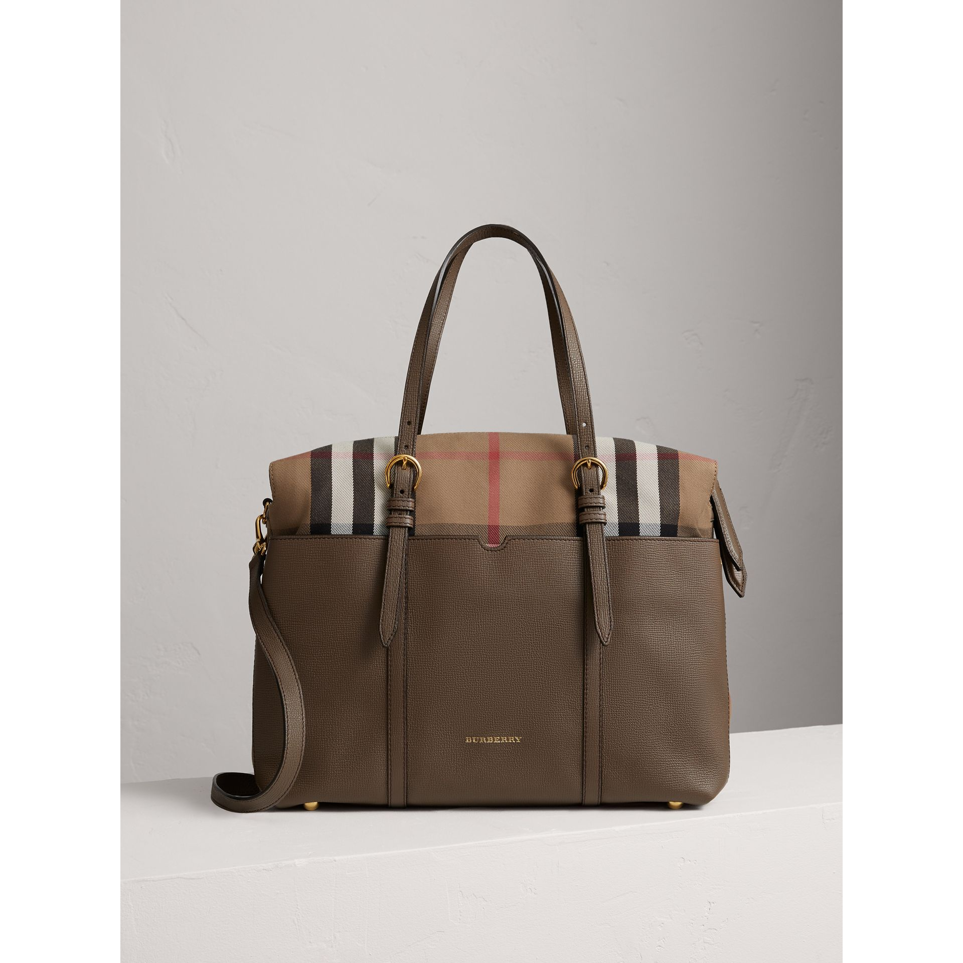 House Check and Leather Baby Changing Bag in Taupe Grey | Burberry - gallery image 1
