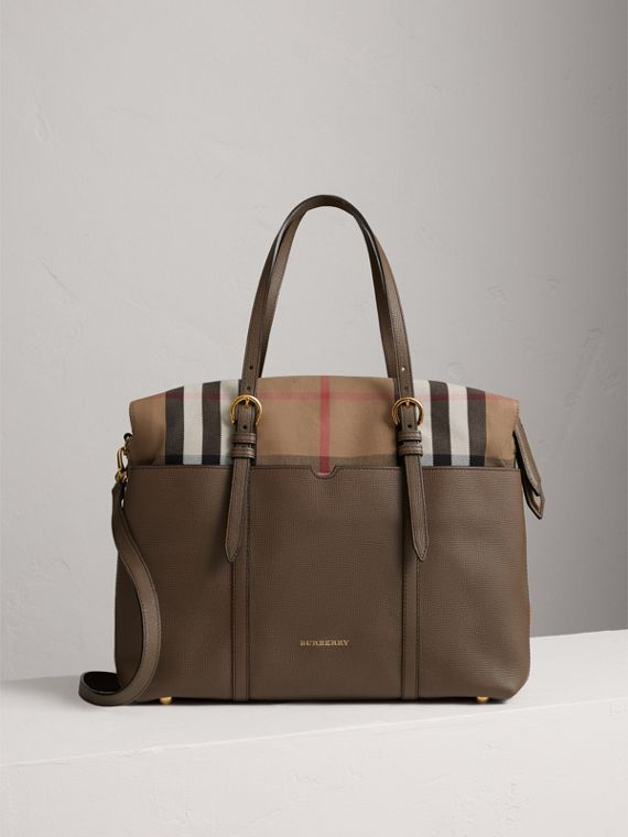 House Check and Leather Baby Changing Bag in Taupe Grey