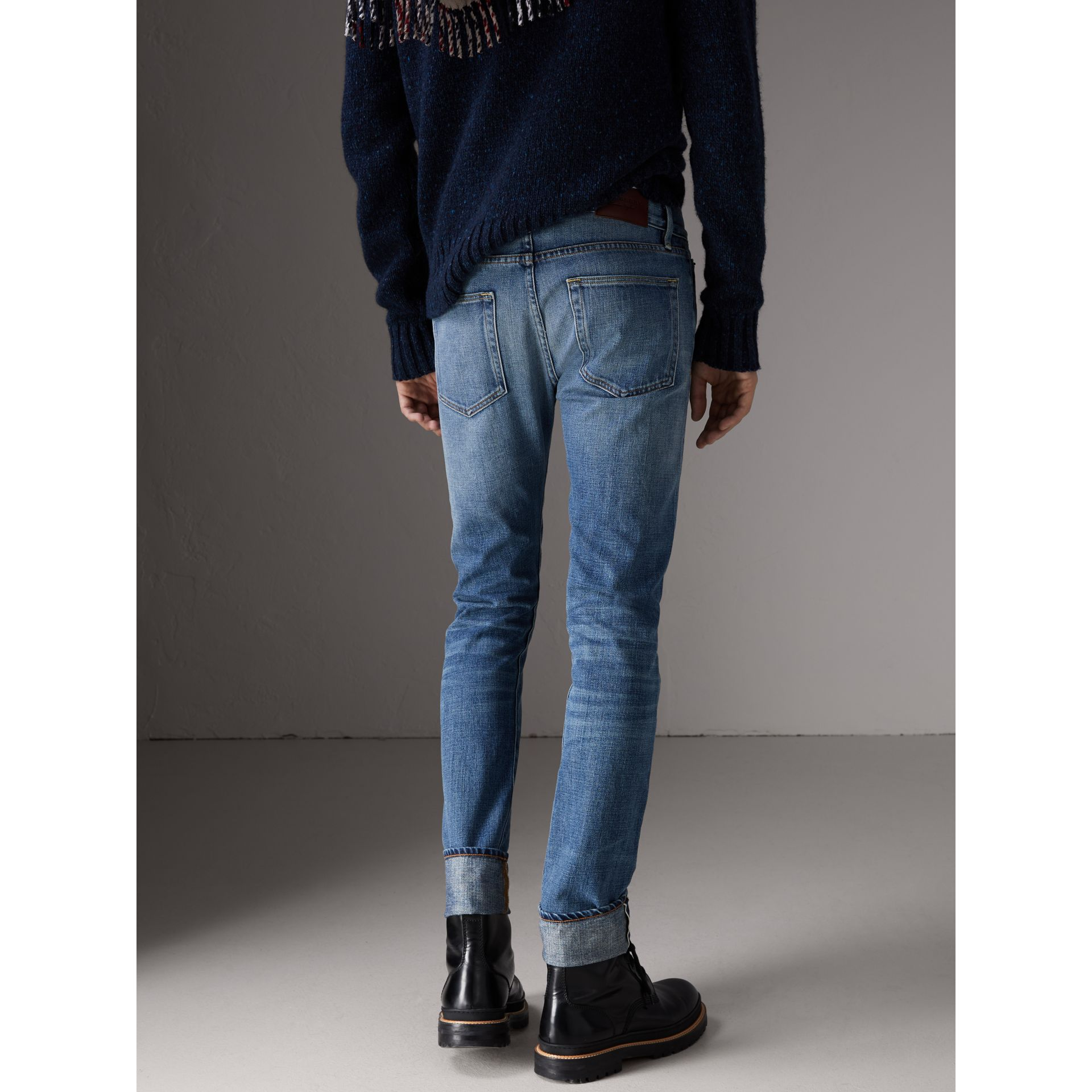 Slim Fit Washed Japanese Selvedge Denim Jeans in Light Indigo - Men | Burberry - gallery image 2